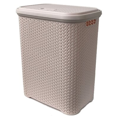 "Rattan Style Laundry Hamper Color: Powder Pink, Size: Large (22.3""H x 17.5""W x 13""D)"