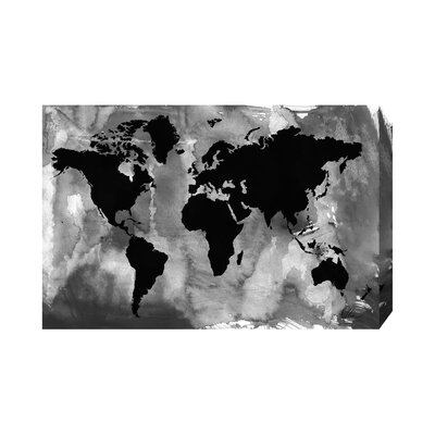 Andrew Lee Maps and Flags Black and White World Map Graphic Art Wrapped on Canvas