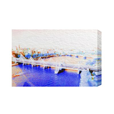 Andrew Lee London Eye View Blue Graphic Art Wrapped on Canvas