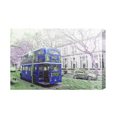 Andrew Lee London Bus Blue Rear by Andrew Lee Graphic Art on Canvas