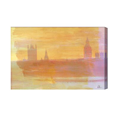 Andrew Lee London Big Ben Yellow Mist by Andrew Lee Art Print Wrapped on Canvas