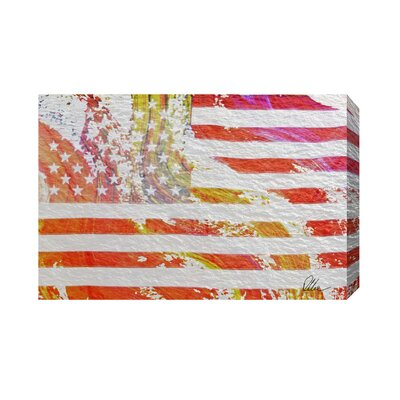 Andrew Lee Maps and Flags American Flag Flare Art Print Wrapped on Canvas