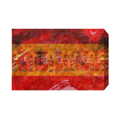 Andrew Lee Maps and Flags Spain Flag Graphic Art Wrapped on Canvas