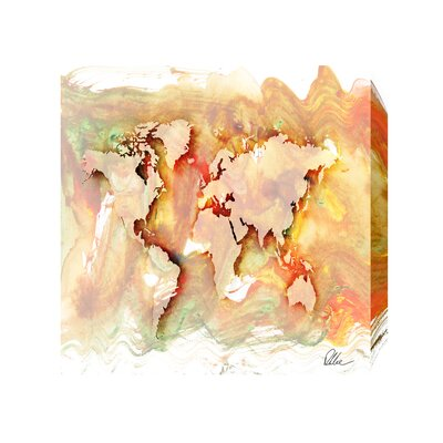 Andrew Lee Maps and Flags Square World by Andrew Lee Art Print Wrapped on Canvas