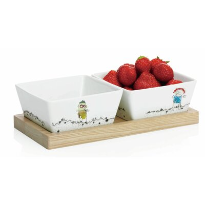Aida Wooden Board and Porcelain Bowls Poul Pava Be Friends 3 Piece Set