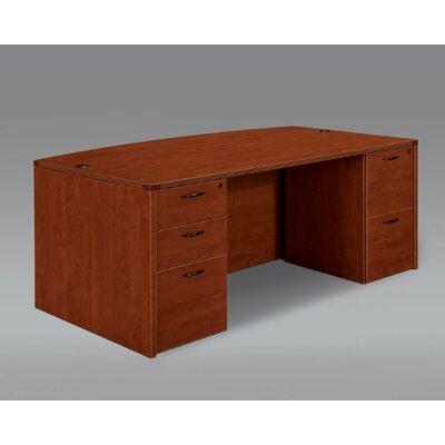 Fairplex Bow Front Executive Desk Finish: Cognac Cherry
