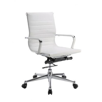 Pantera Genuine Leather Office Chair Upholstery: White