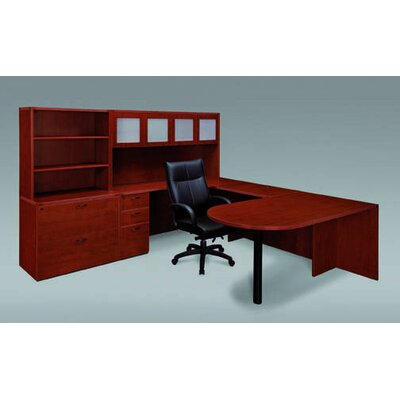 Fairplex 4-Piece L-Shape Desk Office Suite Color: Mocha, Orientation: Right, Door: Glass