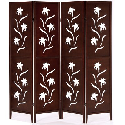 Geese 178cm x 175cm Screen with Flower 4 Panel Room Divider