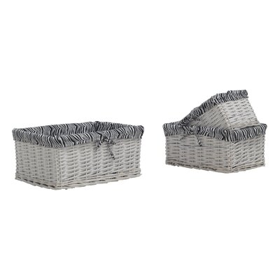 Geese 3 Piece Wicker Basket Set with Lining