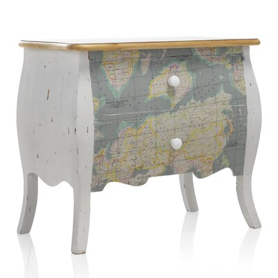 Geese 2 Drawer Globe Map Bedside Table