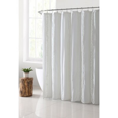 Bettine Solid Technique Shower Curtain Color: White