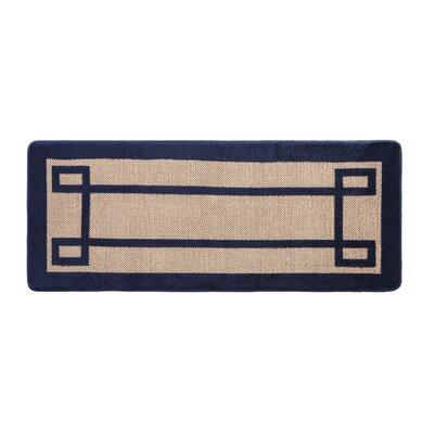 Knopf Greek Key 2 Tone Jacquard Bath Rug Color: Navy