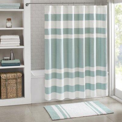 "Malory Shower Curtain Color: Aqua, Size: 108"" W x 72"" H"