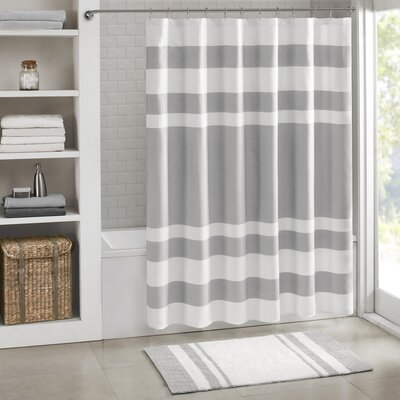 """Malory Shower Curtain Color: Gray, Size: 108"""" W x 72"""" H"""