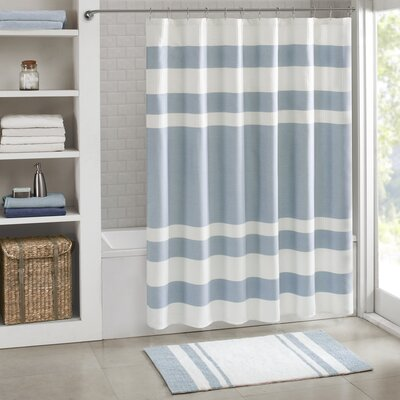 "Malory Shower Curtain Size: 54"" W x 78"" H, Color: Light Blue"
