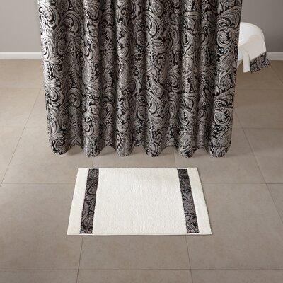 "Pokanoket Tufted Bath Rug Size: 21"" x 34"", Color: Black/Ivory"