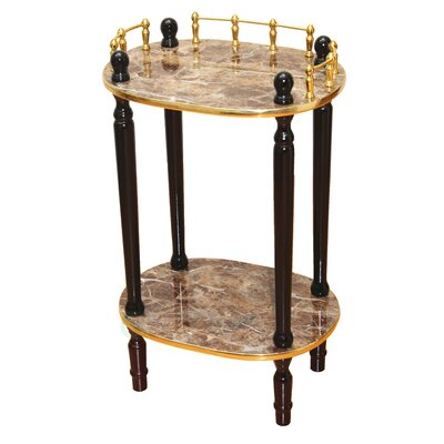 2-Tiered Telephone Table Color: Gold Marble