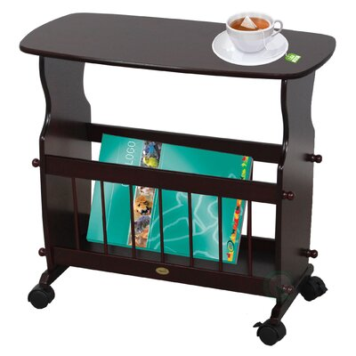 Wooden Magazine Rack Table with Rolling Casters