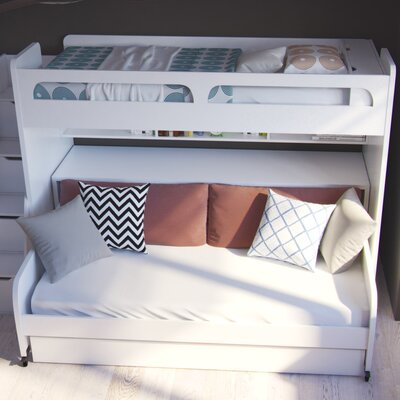 Gautreau Twin Futon Bunk Bed with Table and Trundle Color: Gloss White