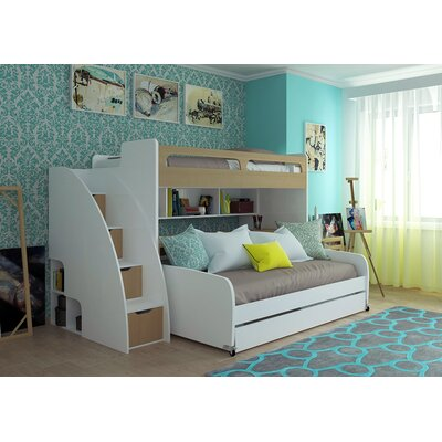 Gautreau Modern Twin Bunk Bed with Trundle Bed Frame Color: Light Wood