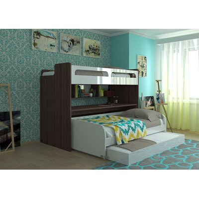 Gautreau Twin Futon Bunk Bed with Table and Trundle Color: Semi-gloss white and Dark wood