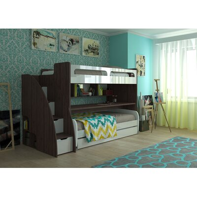 Gautreau Twin Bunk Bed over Full XL Sofa Bed, Table and Trundle Bed Frame Color: Dark Wood/Gloss White