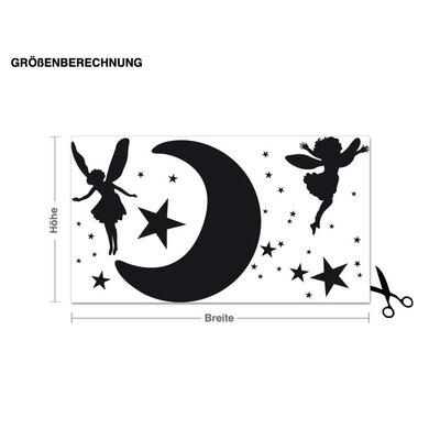 Klebefieber Mond mit Elfen Wall Sticker