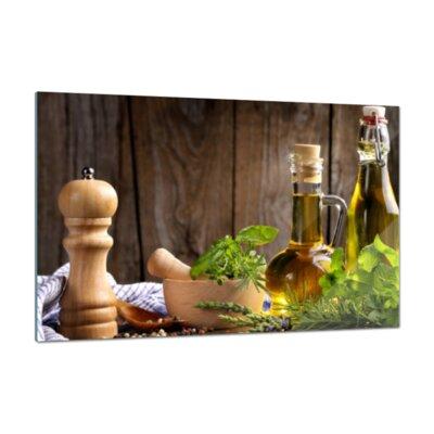Klebefieber Stillleben Kräuter und Öle Glass Art