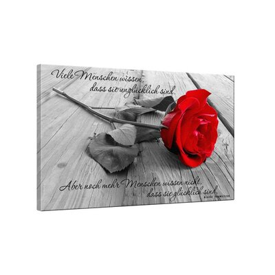 Klebefieber Rote Rose Photographic Print on Canvas