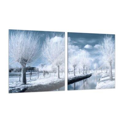 Klebefieber Winterlandschaft 2-Piece Glass Art