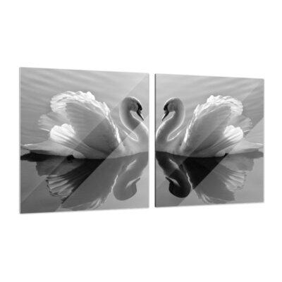 Klebefieber Verliebte Schwäne 2-Piece Glass Art Set