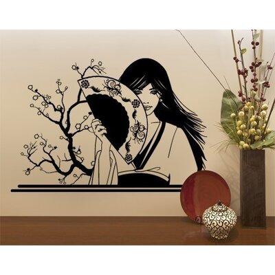 Klebefieber Geisha mit Fächer Wall Sticker