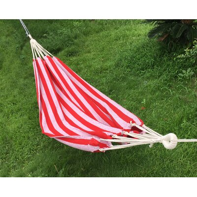 Cotton and Polyester Camping Hammock Color: Red/White