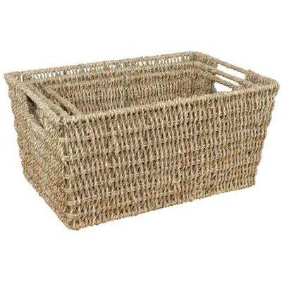 CandiGifts 3 Piece Tapered Seagrass Storage Basket Set