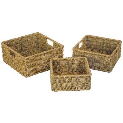 CandiGifts 3 Piece Square Seagrass Storage Basket Set