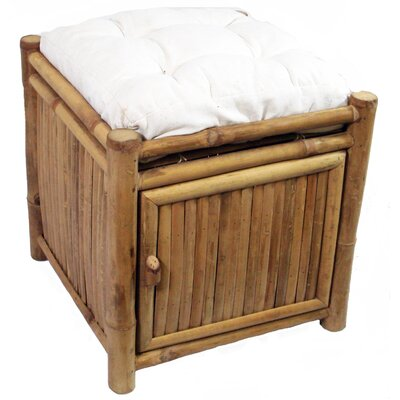 Porter Bamboo Square Storage Stool with Cushion