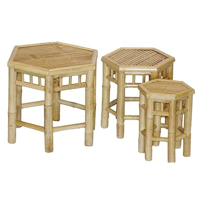 Porter 3 Piece Bamboo Stool Set