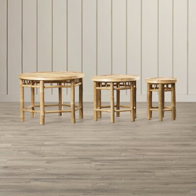 Porter Natural Bamboo 3 Piece Accent Stool Set