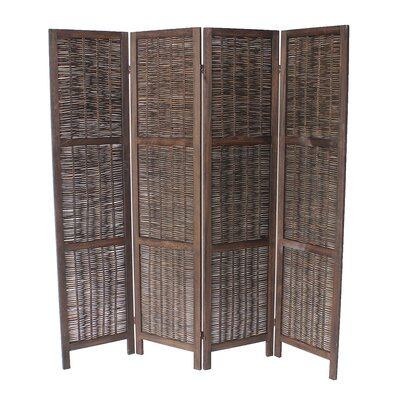 Madalynn 4 Panel Room Divider Color: Dark Brown