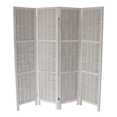 Madalynn 4 Panel Room Divider Color: White