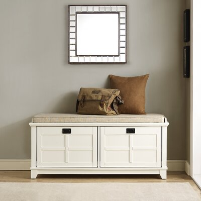 Lexie Fabric Storage Bench Color: White