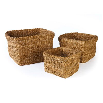 3 Piece Square Basket with Cuff Set