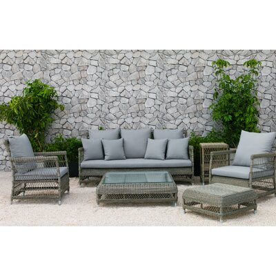 Fotau 6 Piece Rattan Sofa Set with Cushions