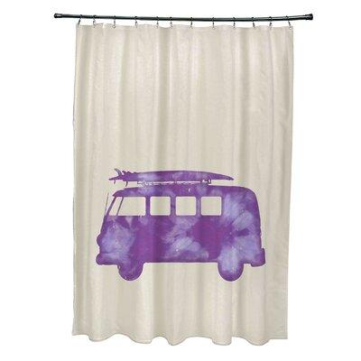 Pembrook Polyester BeachDrive Geometric Shower Curtain Color: Purple