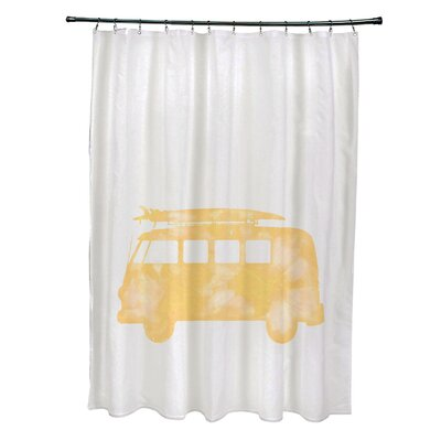 Pembrook Polyester BeachDrive Geometric Shower Curtain Color: Yellow