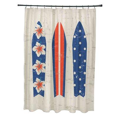 Pembrook Polyester Triple Surf Geometric Shower Curtain Color: Blue