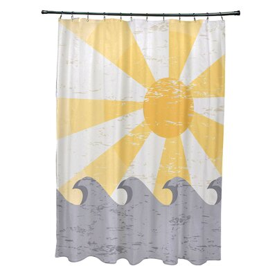 Pembrook Polyester Sunbeams Geometric Shower Curtain Color: Yellow