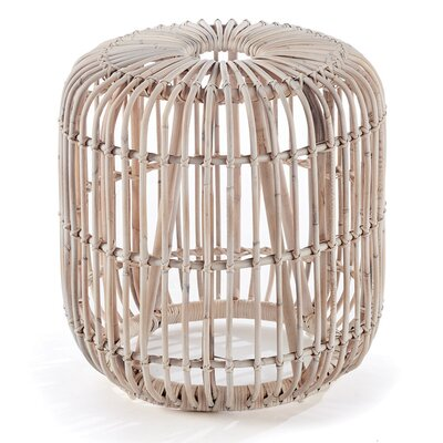 Adaline Rattan Accent Stool Color: Whitewash