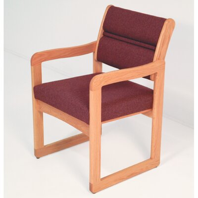 Guest Chair Wood Finish: Light Oak, Fabric: Vinyl Wine, Arms: Included